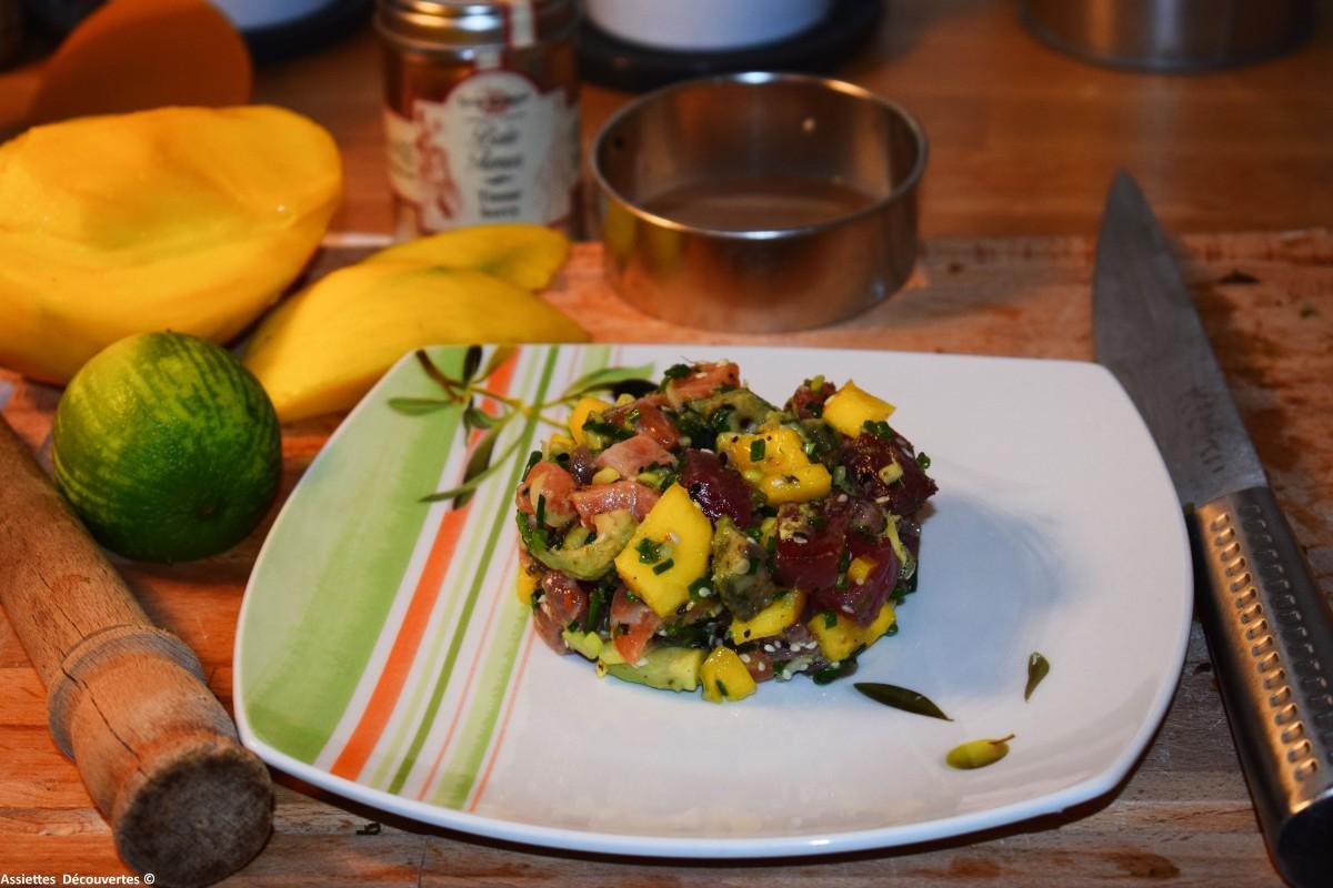 Tartare de saumon et thon à la mangue au parfum d'Asie